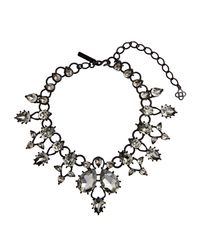Oscar de la Renta - Black Swarovski Embellished Necklace - Lyst