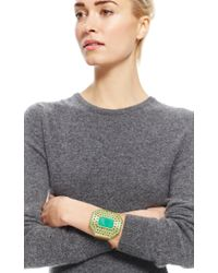 Irene Neuwirth - Green 18k Yellow Gold Cuff Set with Emerald Cabochon Cut Chrysoprase Diamond Pave - Lyst