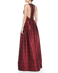 Alice + Olivia - Red Emilia Snake-Embossed Metallic Gown - Lyst