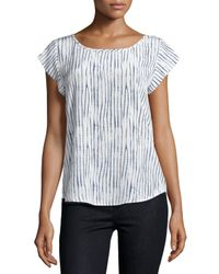 Joie - White Rancher B Striped Silk Blouse - Lyst