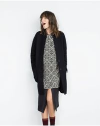 Zara | Blue Wool Coat | Lyst
