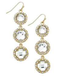 INC International Concepts - Metallic Gold-tone Crystal Triple Stone Linear Earrings - Lyst