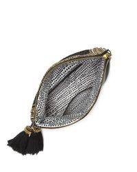Vince Camuto | Black Bessy Leather Beaded-Flap Tassel Clutch | Lyst