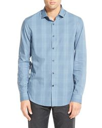 Calibrate | Blue Trim Fit Plaid Sport Shirt for Men | Lyst