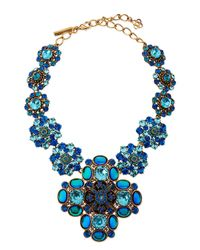 Oscar de la Renta | Swarovski Crystal Necklace Blue | Lyst