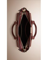 Burberry - Purple The Medium Clifton In Leather And Embossed Check Claret - Lyst