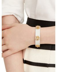 kate spade new york - White Dazzling Daisies Leather Bracelet - Lyst