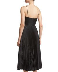 Cedric Charlier - Black Faux-leather Pleated Skirt Dress - Lyst