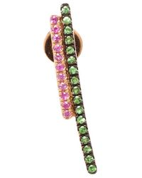 Asherali Knopfer | Green Tsavorite And Sapphire Bar Earring | Lyst