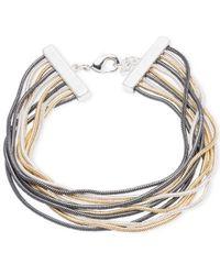 Nine West | Metallic Tri-tone Multi-strand Flex Bracelet | Lyst