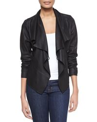 Bagatelle - Black Asymmetric Cascading Collar Leather Jacket - Lyst
