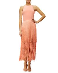 Tamara Mellon - Pink Sleeveless Fringe Column Dress - Lyst