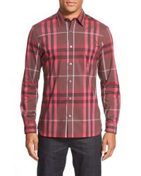 Burberry Brit | Red 'nelson' Trim Fit Check Sport Shirt for Men | Lyst
