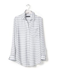 Banana Republic | Gray Striped Boyfriend Shirt | Lyst