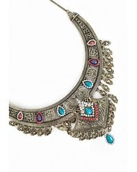 Missguided - Metallic Beaded Festival Collar Antique Silver - Lyst
