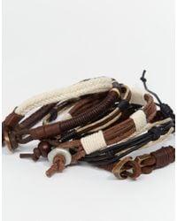 ASOS - Bracelet Pack In Brown for Men - Lyst