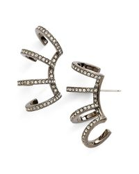 Nadri - Black 'starry Night' Multi Hoop Linear Stud Earrings - Lyst