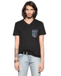 DIESEL | Black Cotton Jersey T-shirt W/ Denim Pocket for Men | Lyst