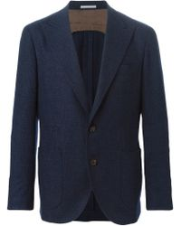 Brunello Cucinelli - Blue Peaked Lapel Blazer for Men - Lyst