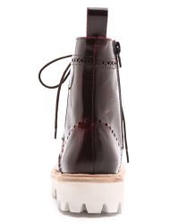 Jeffrey Campbell - Red Clash Lug Sole Combat Boots Wine - Lyst