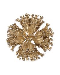 Carolee | Metallic Goldtone Crystal Stone Abstract Flower Pin | Lyst