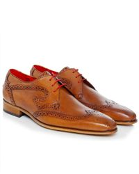 Jeffery West Brown Capone Wing Tip Brogues for men