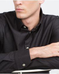 Zara | Black Micro Polka Dot Shirt for Men | Lyst