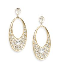 Swarovski | Metallic Ariane Crystal Oval Drop Earrings | Lyst