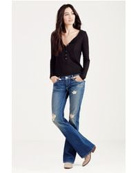 True Religion | Blue Low-rise Straight-leg Jeans | Lyst