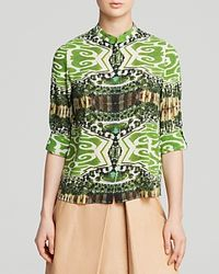 Alice + Olivia | Green Blouse - Eloise Mirrored Garden | Lyst