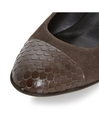 Dune | Brown Angela Low Wedge Toe Cap Courts | Lyst