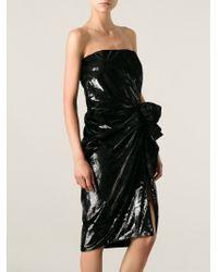 Lanvin - Black Embellished Gathered Dress - Lyst