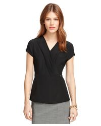 Brooks Brothers - Black Silk Cap Sleeve Blouse - Lyst