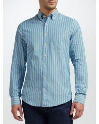 GANT - Blue Top Spin Oxford Stripe Shirt for Men - Lyst