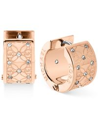 Michael Kors | Pink Gold-Tone Pavé Monogrammed Huggie Earrings | Lyst