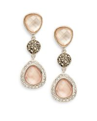 Judith Jack | Metallic Abalone & Mixed Stone Tri-drop Earrings | Lyst