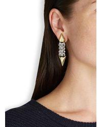Iosselliani - Metallic Gold-plated Zircon Crystal Drop Earrings - Lyst
