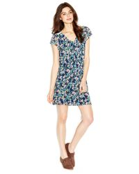 Maison Jules - Blue Cap-Sleeve V-Neck Floral-Print Dress - Lyst
