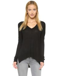 Line | Black John & Jen High-low V Neck Top | Lyst