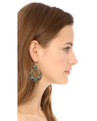 Miguel Ases - Metallic Beaded Hoop Earrigns - Lyst