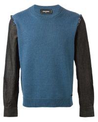 DSquared² - Blue Denim Sleeve Sweater for Men - Lyst