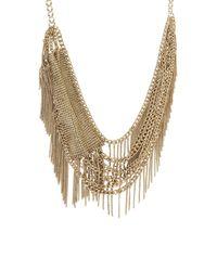 BCBGMAXAZRIA - Metallic Layered Mesh Fringe Necklace - Lyst