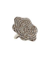Bavna - Multicolor Floral-Shape Pavé Diamond Ring - Lyst