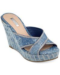 Guess - Blue Eleonora Platform Wedge Slide Sandals - Lyst