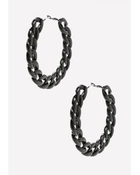 Bebe - Black Chainlink Hoop Earrings - Lyst