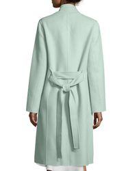 Halston | Green Double-face Belted Coat | Lyst