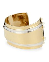 St. John | Metallic Two Tone Cuff With Pearly Studs | Lyst