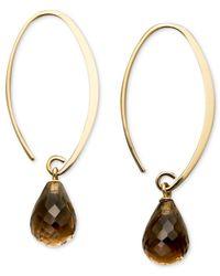 Macy's | Metallic 14k Gold Earrings, Smokey Quartz Brio Long Hoop (6-1/2 Ct. T.w.) | Lyst