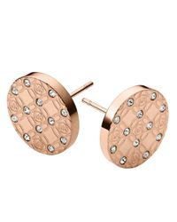Michael Kors | Pink Rose Goldtone And Glitz Logo Etch Earrings | Lyst