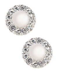 Nadri | Metallic Sparkling Faux Pearl Stud Earrings | Lyst